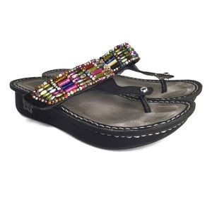 Algeria by PG Lite Wedge Beaded Sandals Size 36